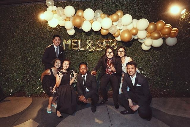 """All the love to @sebg83 & @msmeltang. Congrats on all the wonderful things that are to come. Love you guys! . . I loved for personal and thoughtful each minute was. From the delicious """"Harris"""" boba tea to the 80s cover band, I laughed, I cried and I ate my way into a new suit size. . . #blessings to you both, Melissa and Seb."""