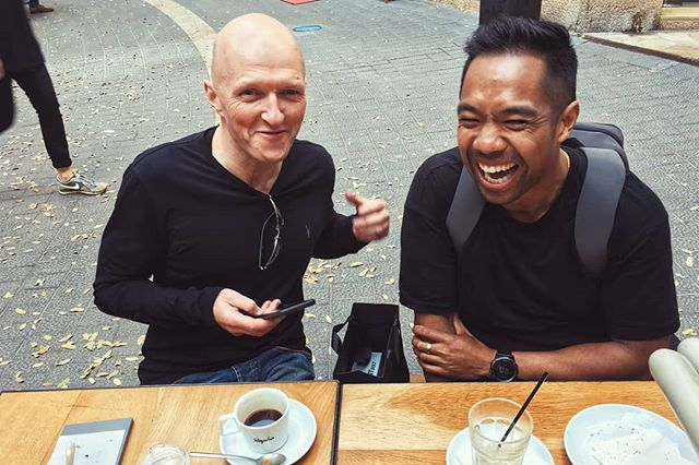 This photo sums up an amazing holiday. It was hanging with your friends enjoying cycling, coffee, & amazing food. . . Cheers to our UK mate, Graeme and to @realandiii. #Mallorca is at the top of my list. . . #rapha #raphamallorca