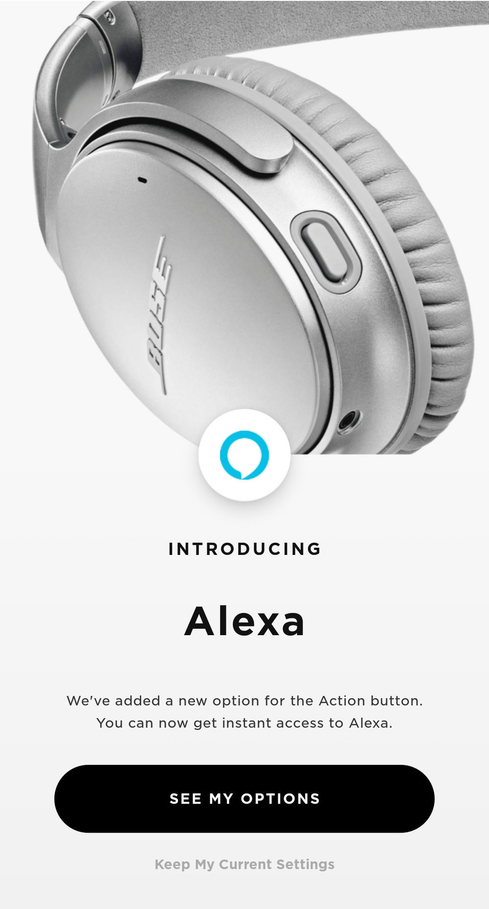 In the Bose Connect app, I designed a flow to install Alexa from the Alexa app.