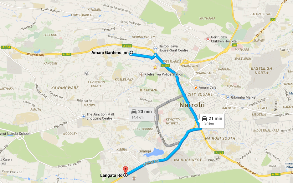 Map to Nairobi National Park from Amani Gardens