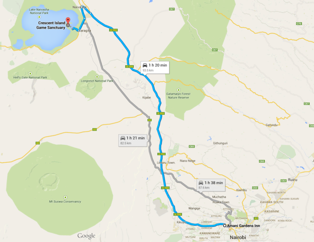 Map to Crescent Island Naivasha