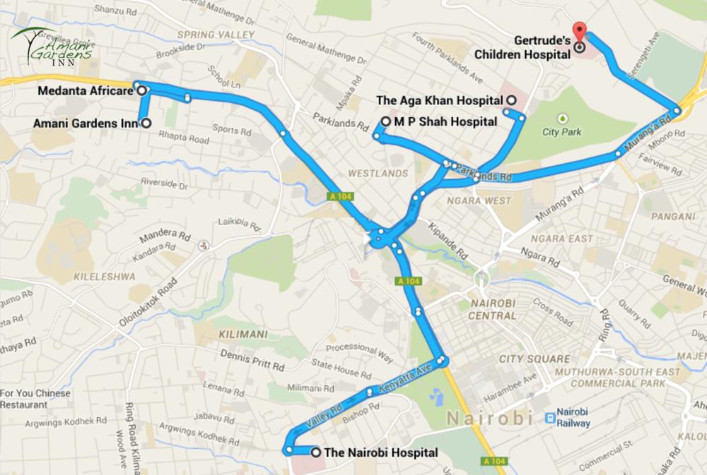 Map to Nairobi Hospitals