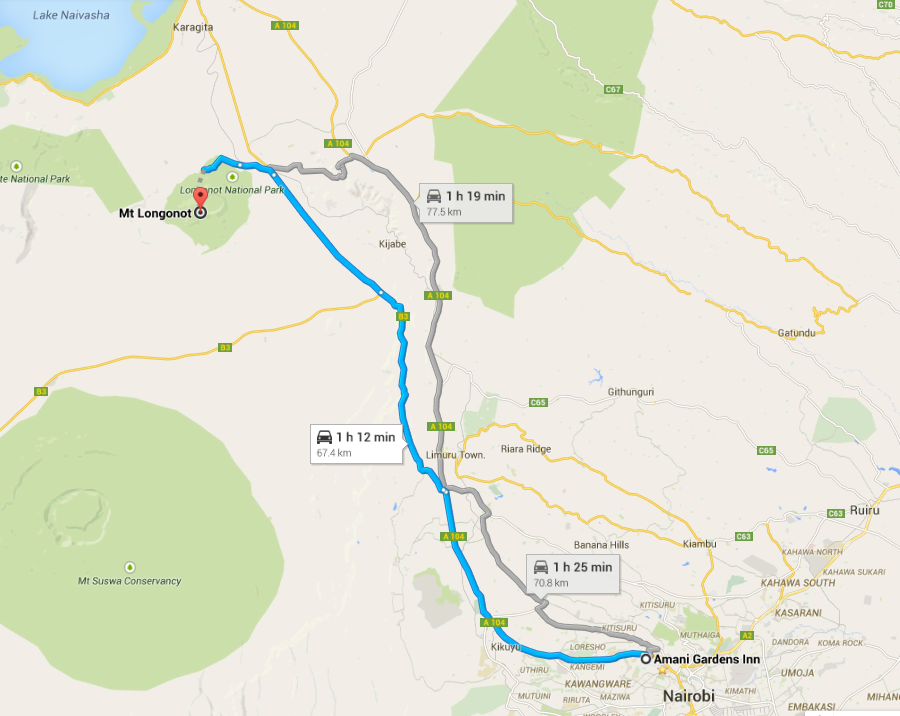 Map to Mount Longonot