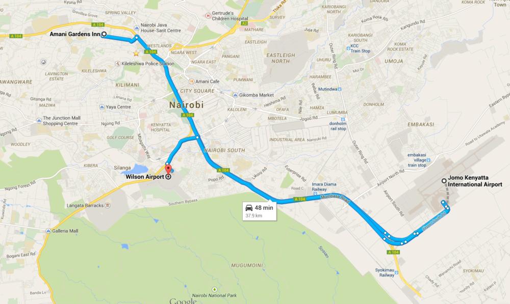 Map to Nairobi JKIA and Wilson Airports