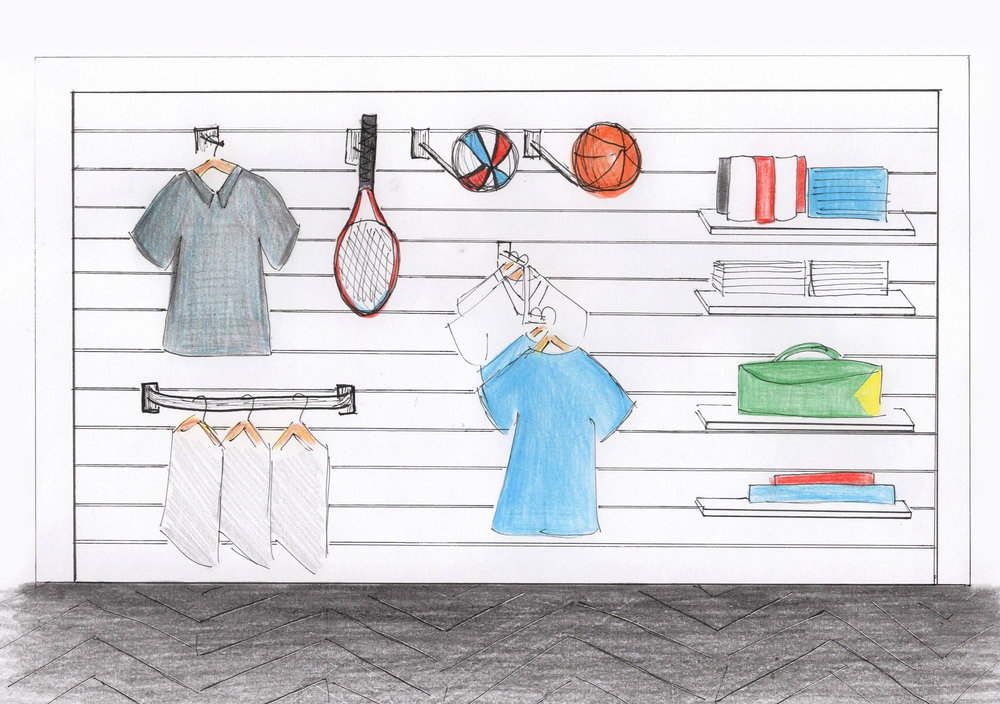 Sports shop Slatwall sketch