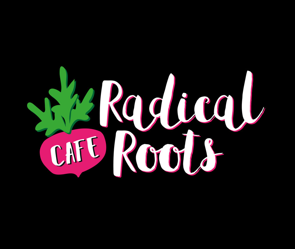 Radical Roots Cafe - Logo design and branding, including illustrated radish