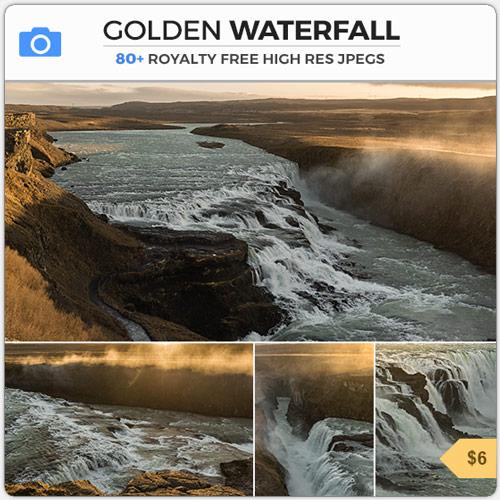 IcelandGulfossGoldenWaterfall