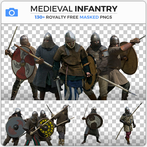 Masked Medieval Infantry Knights Stock