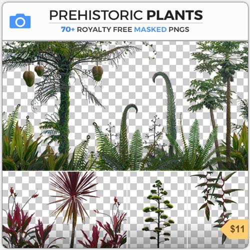 Prehistoric Jurrasic Plants Dinosaur PNG Masked