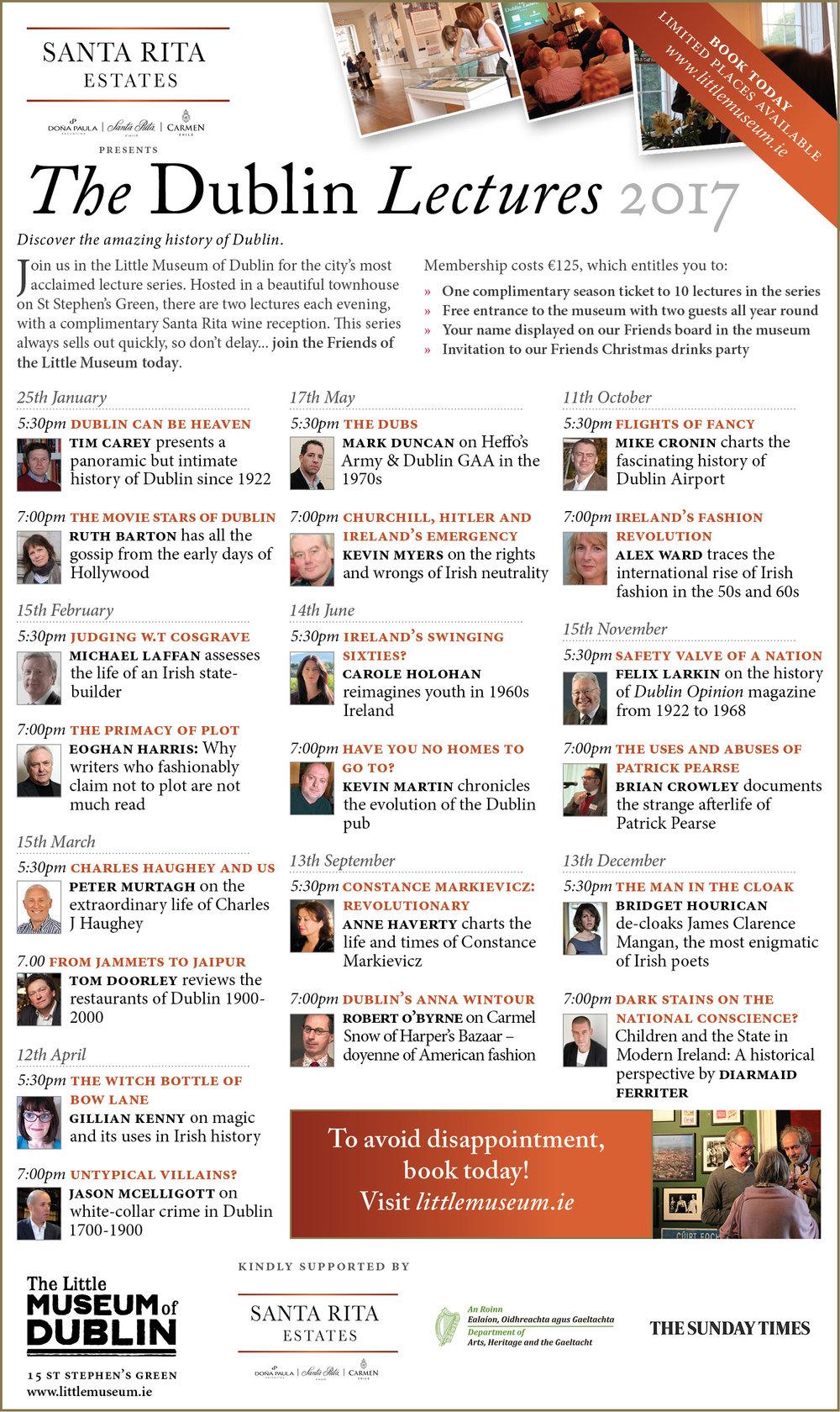 Santa Rita Lectures listing 2017
