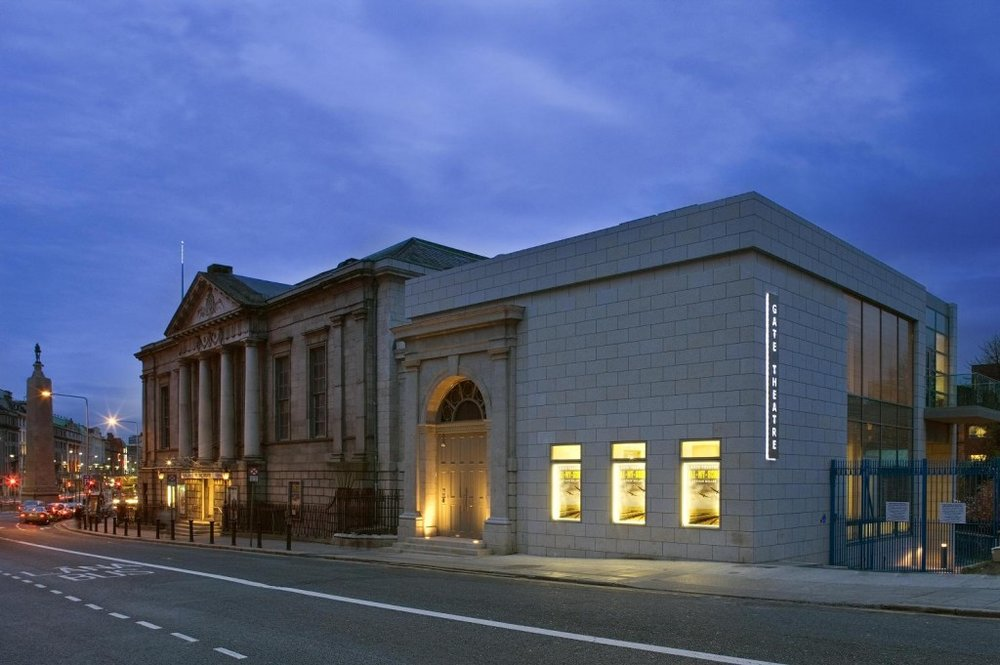 Gate Theatre, exterior, evening light