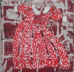 Good Girl Dress 10 x10cms acrylic/machine stitching/canvas