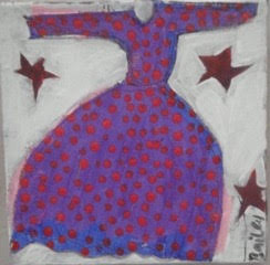 Dream Dress collage/acrylic/machine stitches /canvas20x20cms