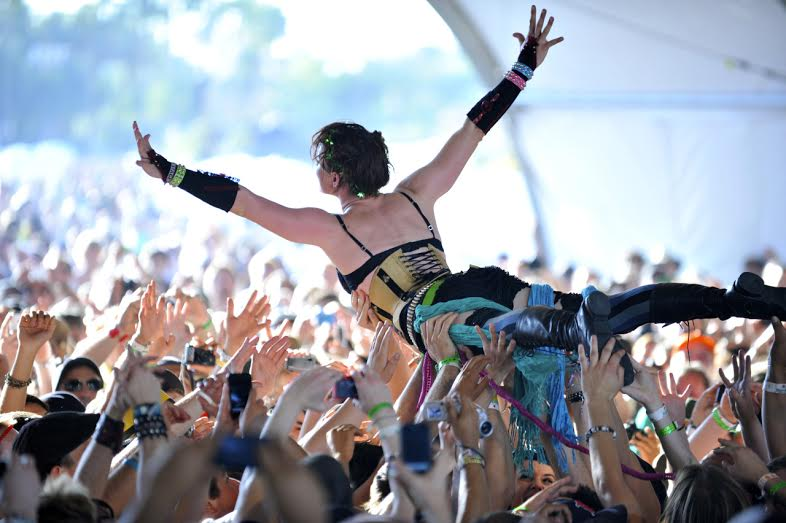 Amanda Palmer crowdsurfing at her Coachella performance in 2009. Photo by  Lindsey Byrnes .