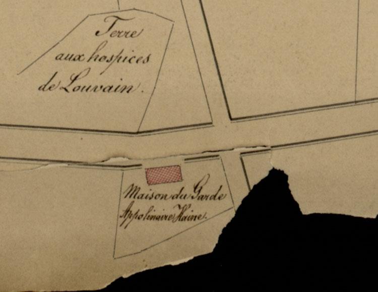 'Maison du Garde: Appolinaire Haine' detail Kaart collectie Arenberg ontginning bossen Heverlee 1827. ARA