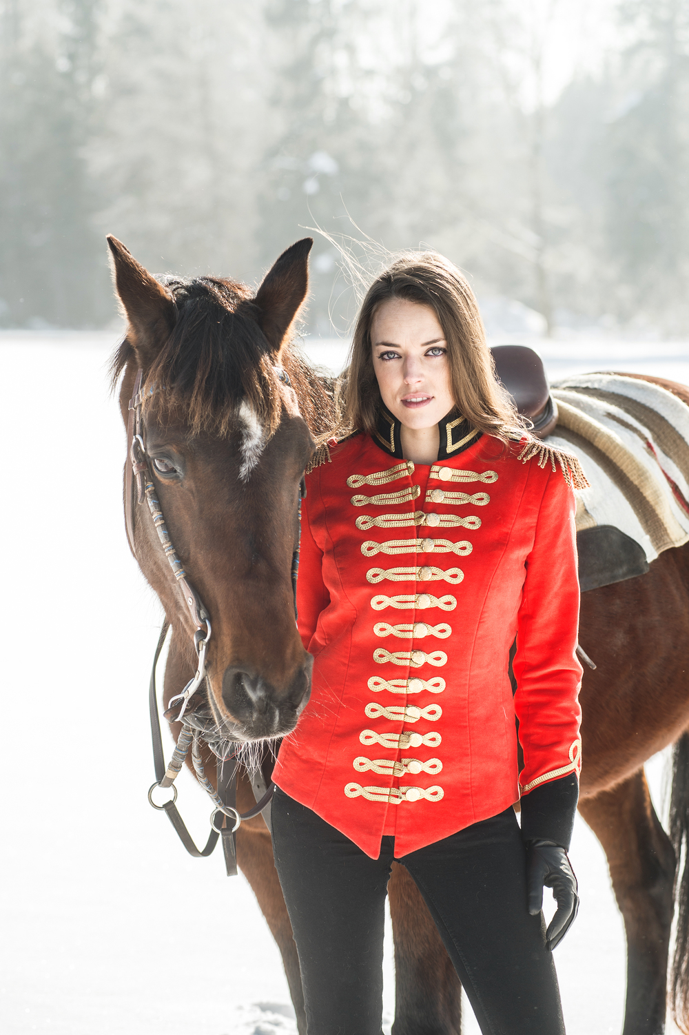 Isabel horse standing red jacket no hat.jpg