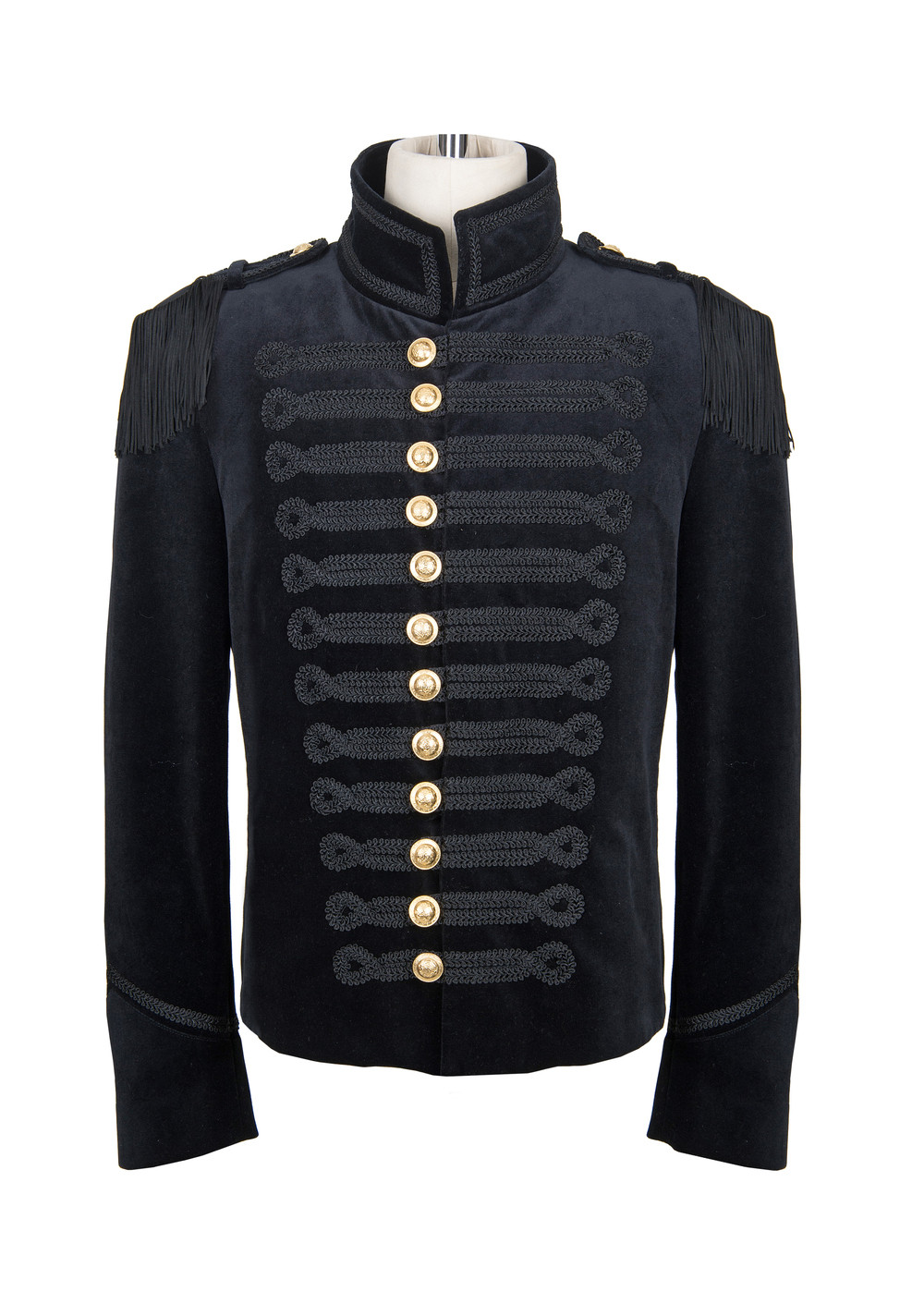 Black velvet mans jacket gold buttons.jpg