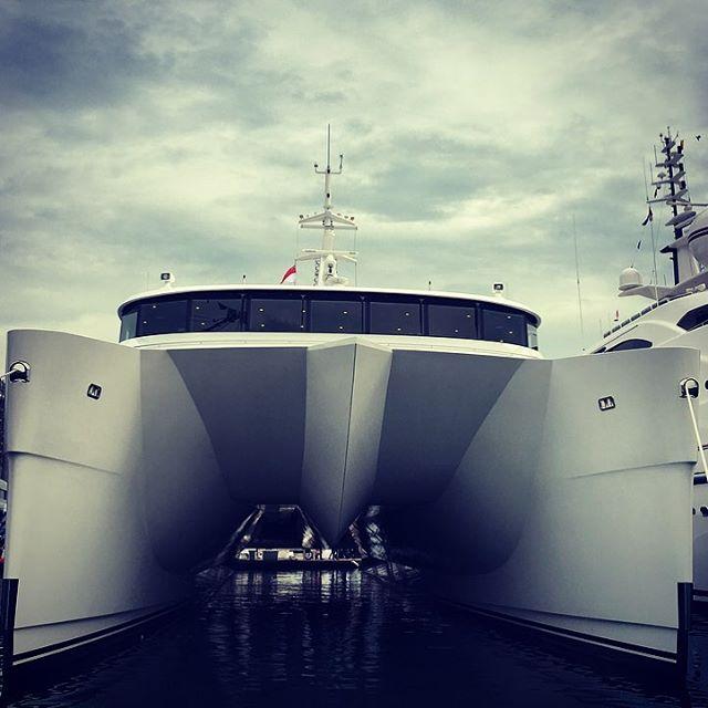 One cool cat -Superyacht Charley on display @singyachtshow #catamaran #superyacht @echoyachts #singaporeyachtshow #luxury
