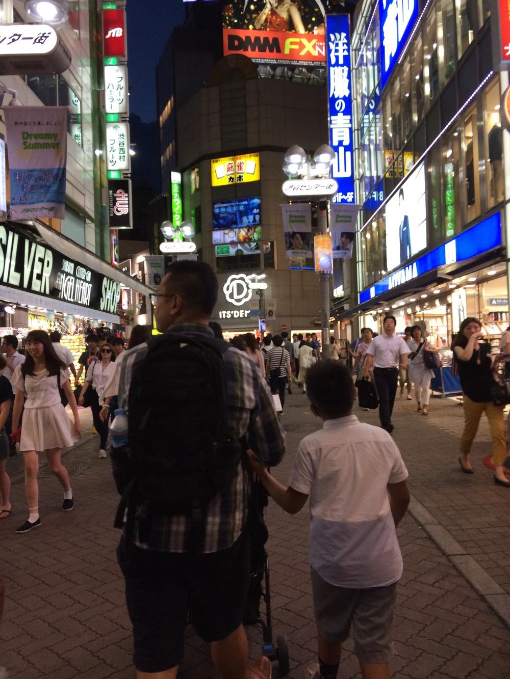 Walking through Shibuya.