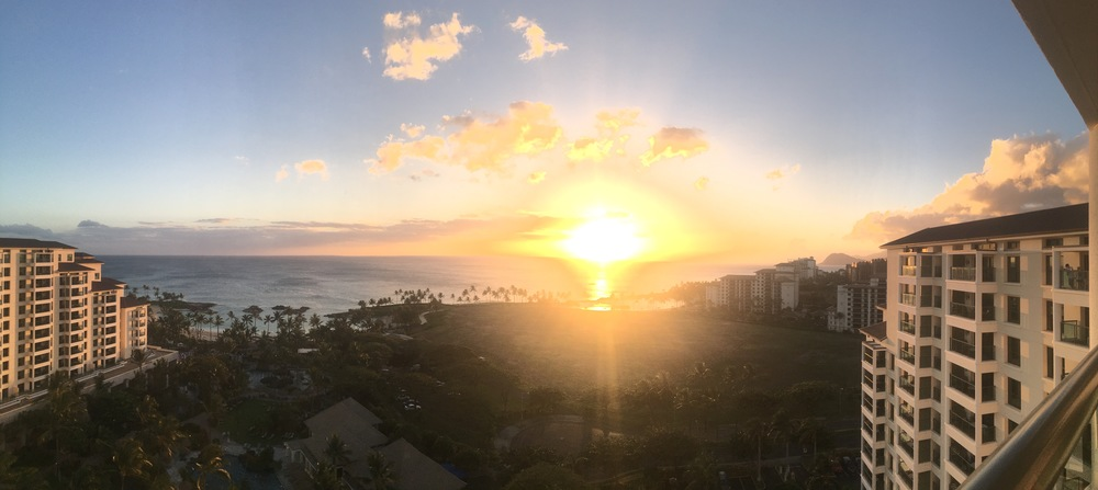 Sunset from a one bedroom villa at the Marriott.