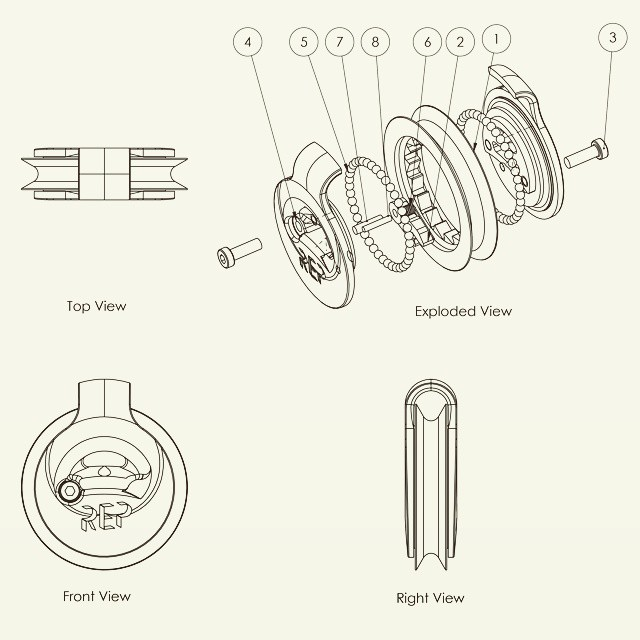 Assembly drawing of the ratchet pulley
