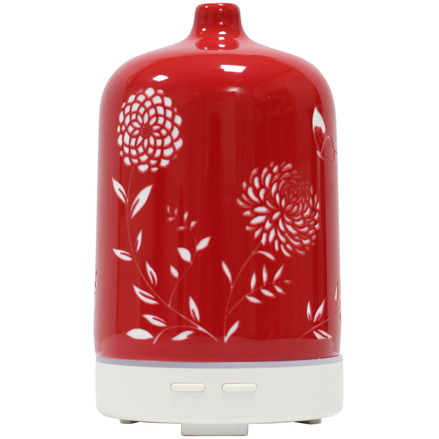 Red Ceramic Diffuser - $90 - No Postal Delivery - Enjoy the beauty of this oriental inspired ceramic aromatherapy diffuser and create a calming environment in your special place.DetailsAll of our diffusers are ultrasonic. An ultrasonic diffuser negates the positive ions which can be detrimental to our health. These positive ions are present because of electronics, plastic and other polluting chemicals in our environment.No heating element used; gently diffuses essential oils without heat. Continuous or intermittent settings, operates for several hours and automatically turns off when water level is low. Great for use at home or office and it's BPA free!