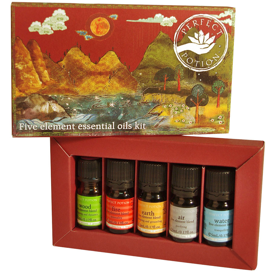 5 Elements Kit - $75 - No Postal Delivery - The five essential oil blends are based on the principles of the Five Elements which are used in Traditional Chinese Medicine to classify phenomena in terms of the five quintessential processes, represented by the emblems Wood, Fire, Earth, Air (Metal) and Water. This kit contains five 5mL five element blends - $20 eachAir Blend - Lemon, Lavender, EucalyptusEarth Blend - Sandal Wood, Vetiver, BergamotFire Blend - Ylang Ylang, Bergamot, OrangeWater Blend - Lavender, Lime, ChamomileWood Blend - Rosemary, Geranium, Grapefruit