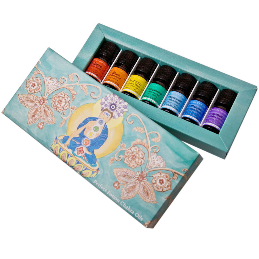 Chakra Blends Kit - $90 - No Postal Delivery - This kit contains seven 5ml chakra blends made from the finest quality aromatherapy grade essential oils - $20 each1st: Balance Blend - Patchouli, Lavender, Black Pepper2nd: Allure Blend - Mandarin, Ylang Ylang, Jasmine3rd: Harmony Blend - Lemon, Bergamot, Aniseed4th: Compassion Blend - Lavender, Ylang Ylang, Rose5th: Expressive Blend - Sandal Wood, Sweet Orange, Basil6th: Insight Blend - Bergamot, Lavender, Rosemary7th: Cosmic Blend - Lavender, Frankincense, Lime