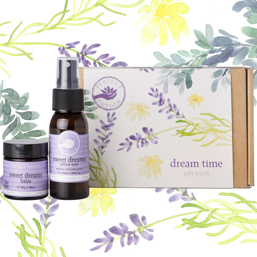 Dream Time Pack - $35 - No Postal Delivery - Scents of lavender, sweet orange, clary sage, Roman Chamomile and petitigrain will help you create your own dreamy paradise, perfect for winding down from a busy day. Drift off into a state of calm with this dreamy gift pack - $20 EachDream Time Gift Pack contains:Sweet Dreams Aromatherapy Balm 30gSweet Dreams Pillow Mist 50mL