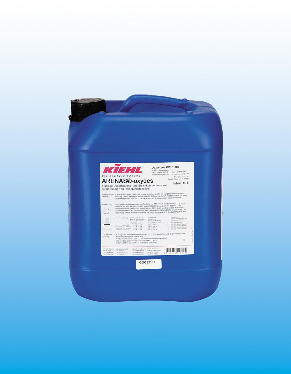 ARENAS®-oxydes            Desinfeksjon og blekemiddel    ARENAS®-oxydes er et desinfeksjonsmiddel utviklet for rengjøring av tekstiler med gode bleke egenskaper. ARENAS®-oxydes tilfredstiller de hygieniske kravene til Robert Koch Institute