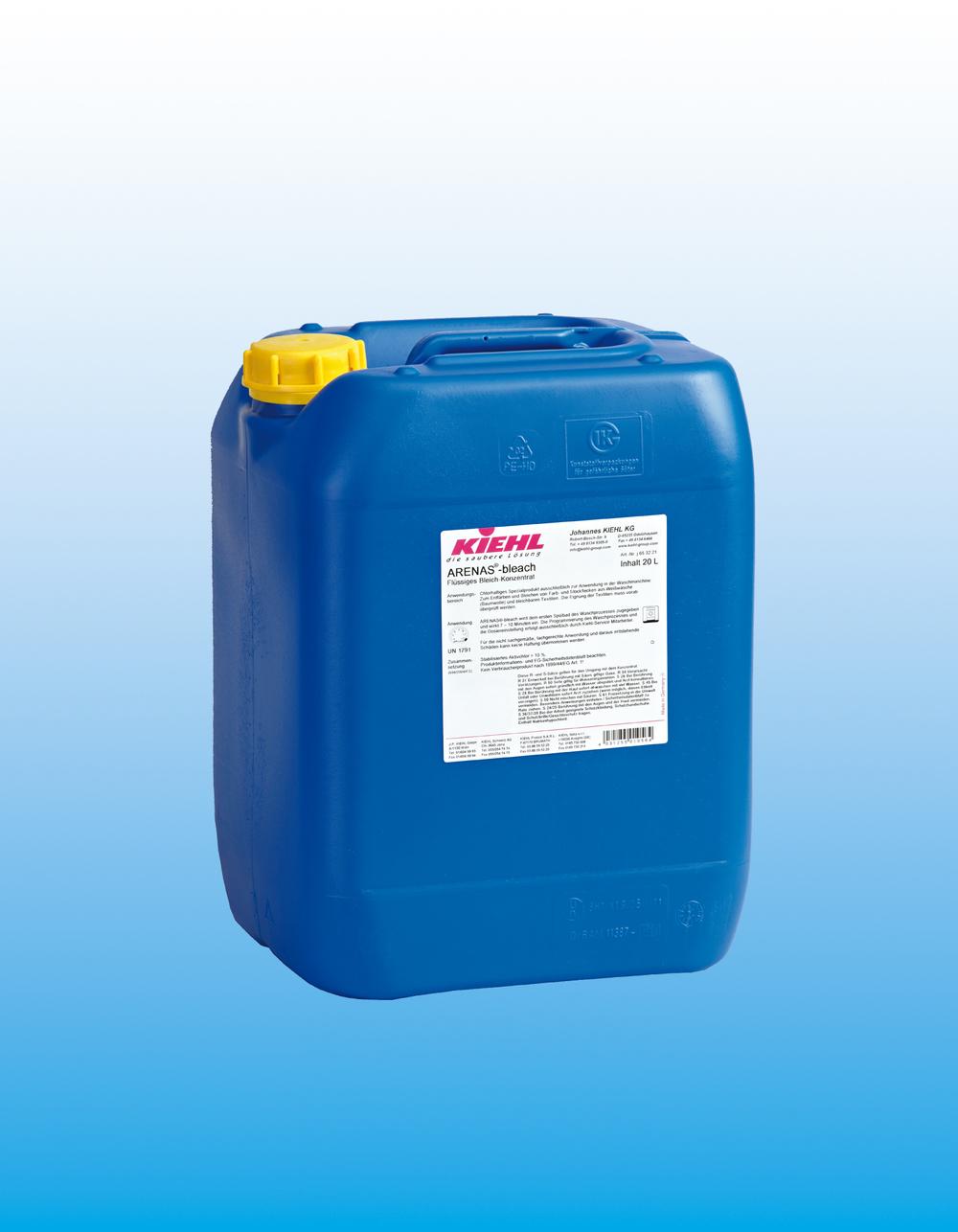 Arenas    ®-bleach                                 Blekemiddel konsentrat    ARENAS®-blekemiddel er et klorbasert flytende blekemiddel-konsentrat for bruk i vaske-maskin. Blekemiddel konsentratet oppnår optimal hvit