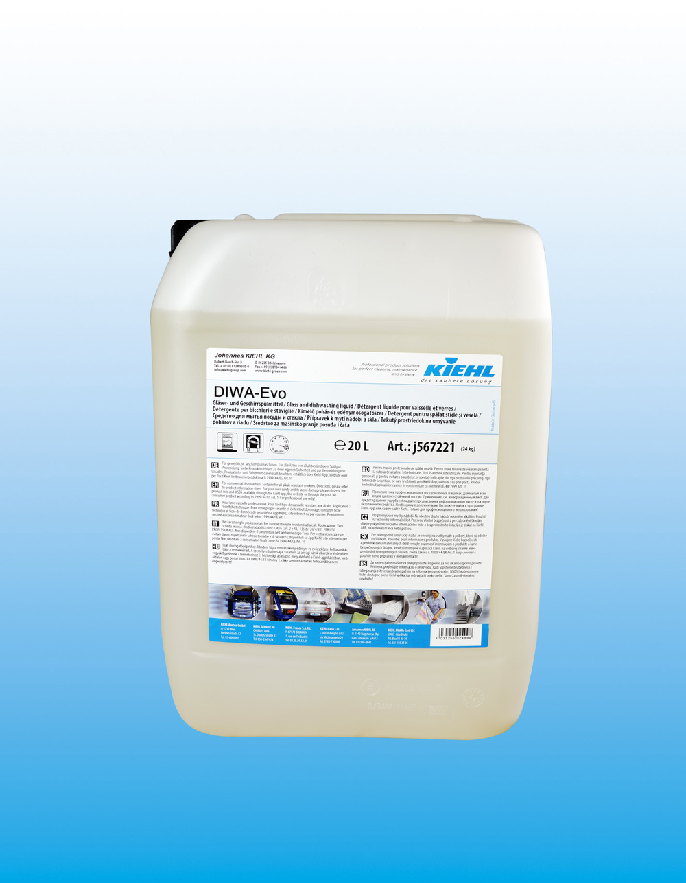 Diwa Evo - Glass og oppvask-middelOppvaskmiddel for profesjonelle oppvask-maskiner. DIWA-Evo fjerner raskt og effektivt matrester samt kaffe og te flekker. Stivelse bygget opp på servise vil bli kraftig redusert. DIWA-Evo er fri for NTA, klor og fosfat er og derfor skånsom og miljøvennlig.