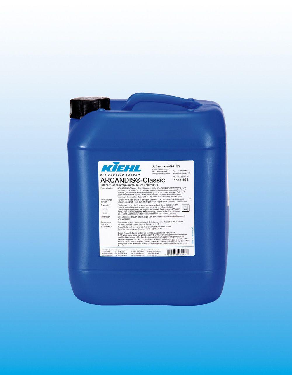 Arcandis Classic     Mildt kloret maskinoppvask    Konsentrert oppvaskmiddel for alle typer profesjonelle oppvaskmaskiner. ARCANDIS®-Classic fjerner raskt og effektivt kaffe og te flekker, samt vanskelige matrester. Produktet er svært effektivt uansett vannhardhet.
