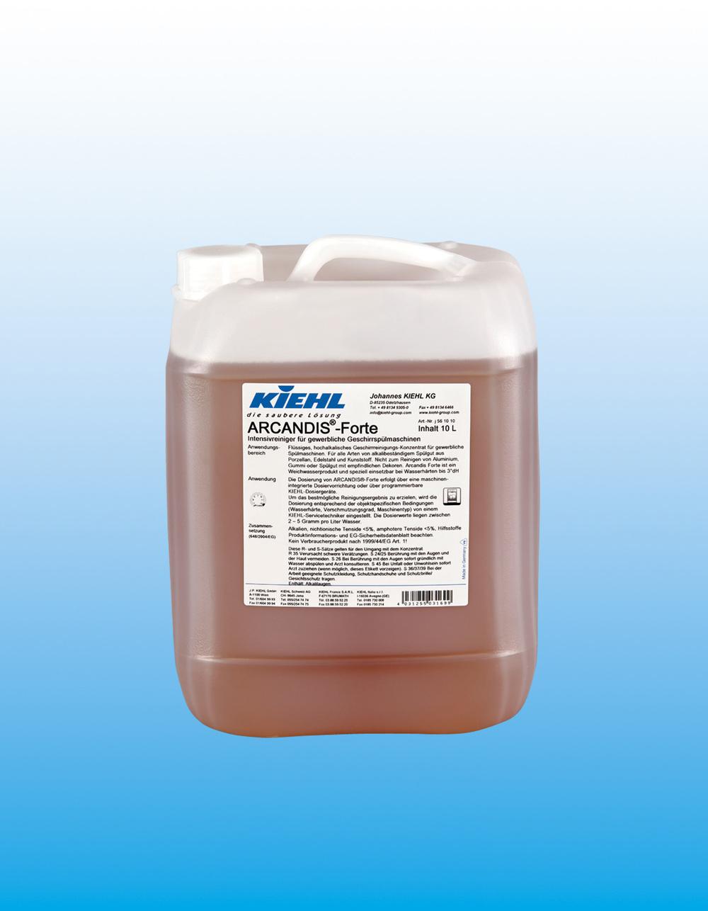 Arcandis Forte     Kraftig maskin-oppvask    Sterkt alkalisk, konsentrert oppvaskmiddel for profesjonelle oppvask-maskiner. Produktet er fritt for klor og fosfat, har gode rengjøringsegenskaper og fjerner effektivt stivelse og protein.