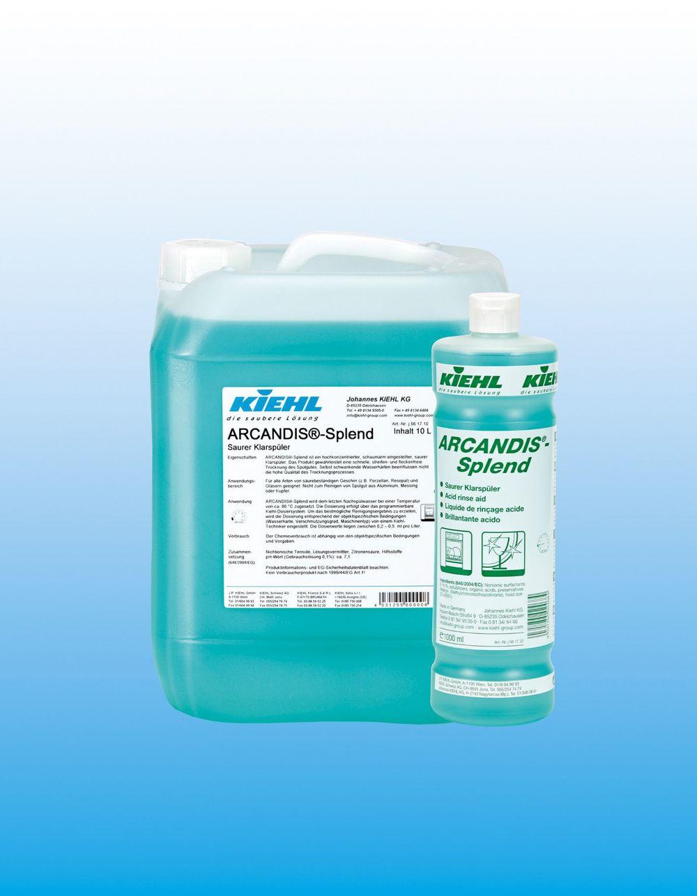 Arcandis Splend                                Miljømerket, maskinoppvask          ARCANDIS®-splend er et miljøvennlig konsentrert, surt skyllemiddel for kommersielle oppvask-maskiner. Produktet gir utmerket tørke-ytelse og etterlater oppvask stripefritt og skinnende rent.