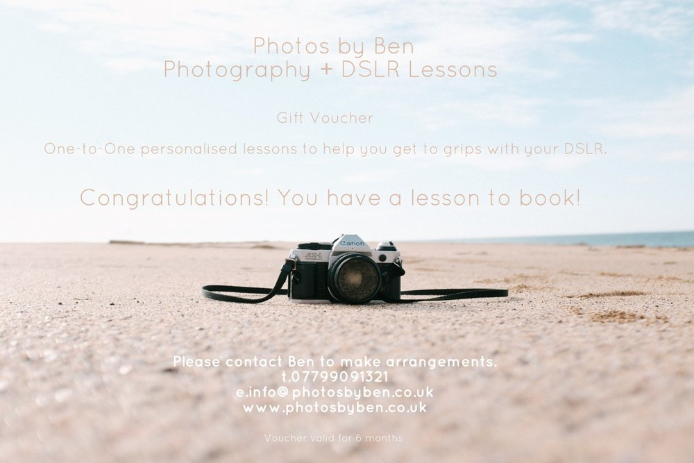 Gift Voucher - Photography for Beginners, learn how to use your DSLR in Crewe & Nantwich, Cheshire.