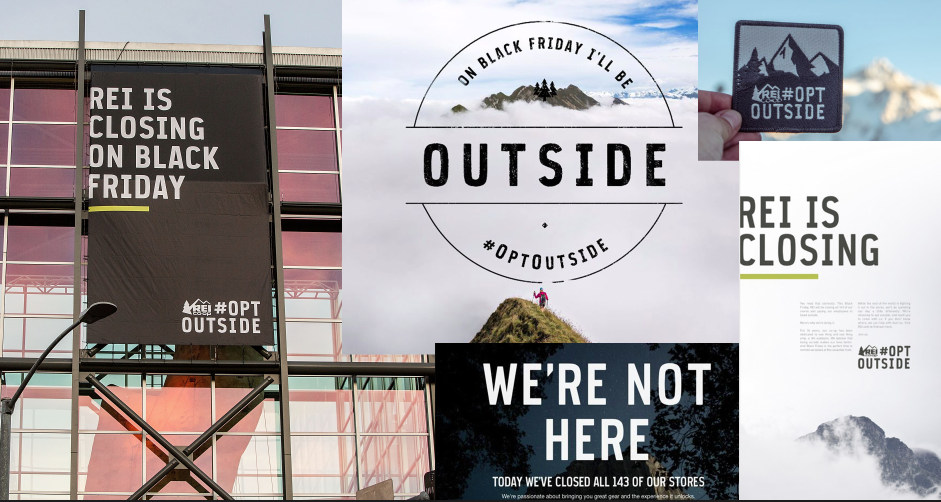 Custom brand typeface / REI #OPTOUTSIDE Black Friday campaign