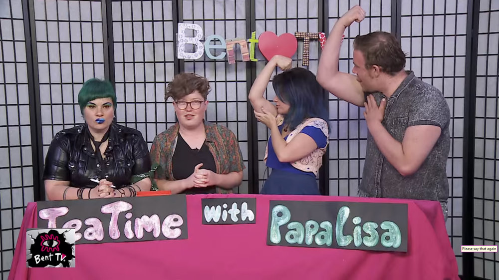TeaTime with PapaLisa  is an unscripted discussion segment run by  Lisa-Skye  on Channel 31's Bent TV which is dedicated to the acceptance of sexual and gender diversity. I think I peaked in  this episode  at about the 5:30 mark.
