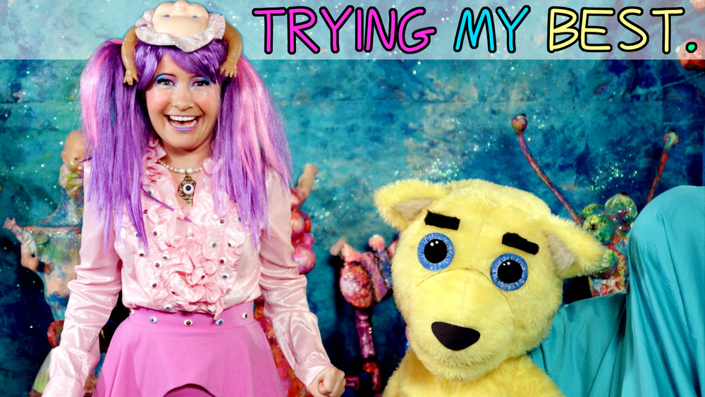 Trying My Best  is our brand new web series. Combining intensely colourful, head-twisting art with apocalyptically dark humour, it features sparkle-eyed puppets, mutated set pieces and a catchy soundtrack. From its happy-go-lucky beginnings the show quickly descends into a demented, surrealist nightmare, where the audience is forced to decipher the storyline through the cracks that appear in the production. The result is a children's variety show, which must never be seen by any children. Ever.