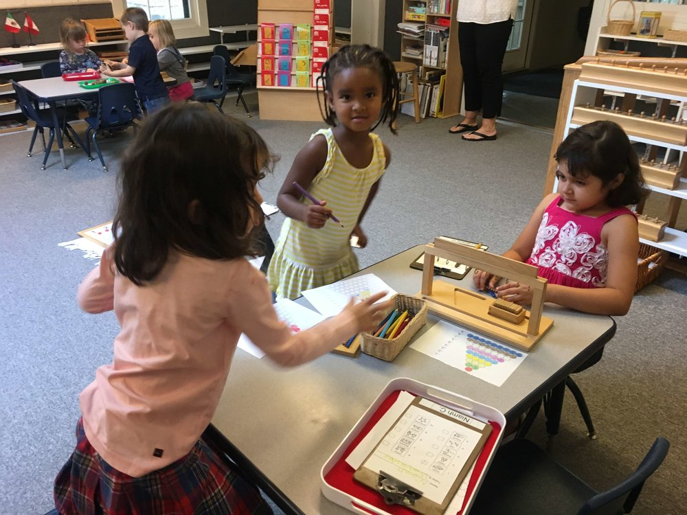 Working togetherand building community - In the multi age classroom, more experienced children often work with newer children which strengthens the school's community and their own understanding of a work.
