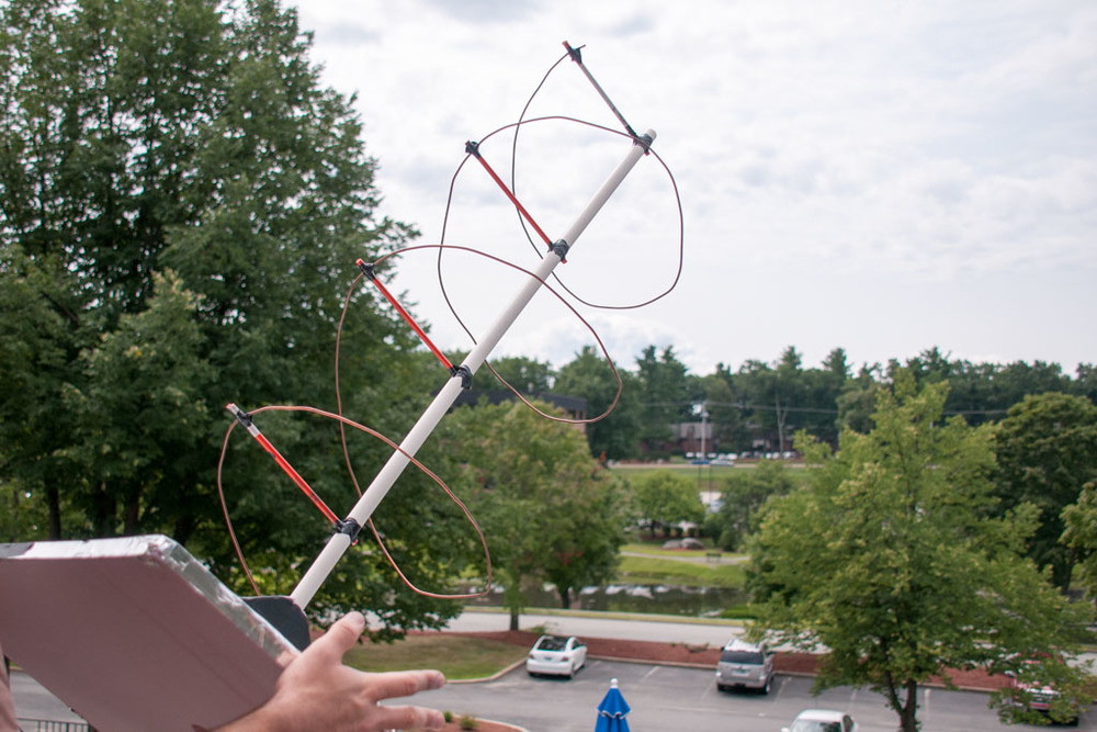"""I can make an antenna from junk, in about an hour and communicate through the satellite with it."""
