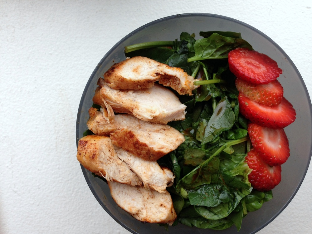 spring chicken & strawberry spinach salad