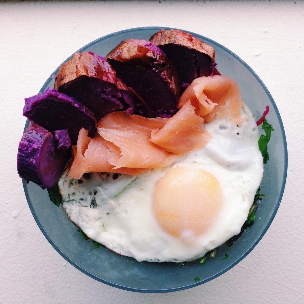dinner salad smoked salmon sweet potato egg