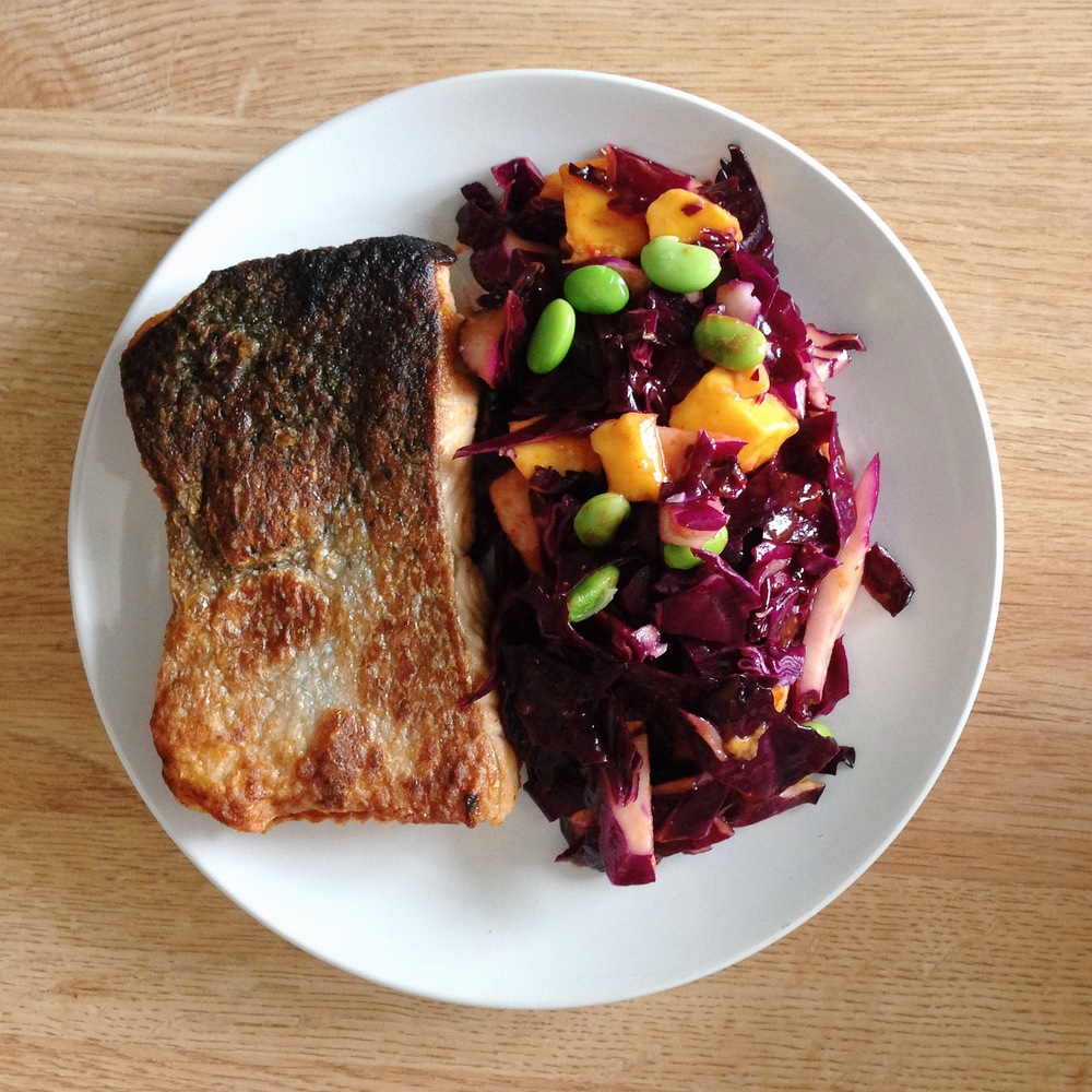 crispy skin salmon with asian purple cabbage slaw - approaching paleo