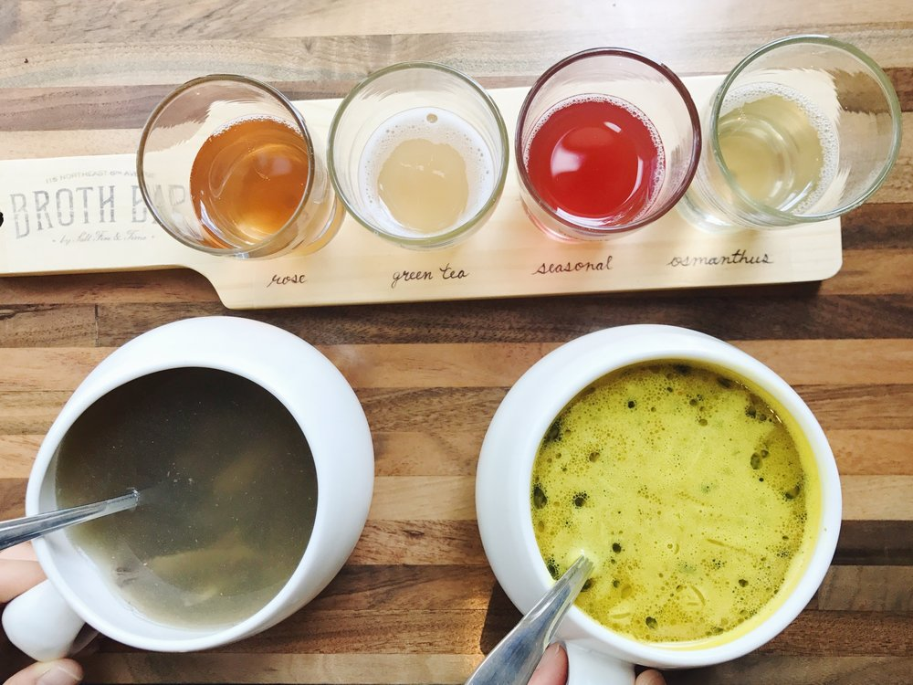 broth bar bone broth + kombucha flight
