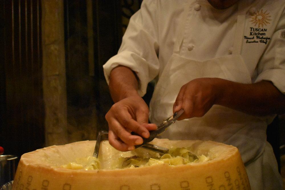 cheese wheel pasta tuscan kitchen