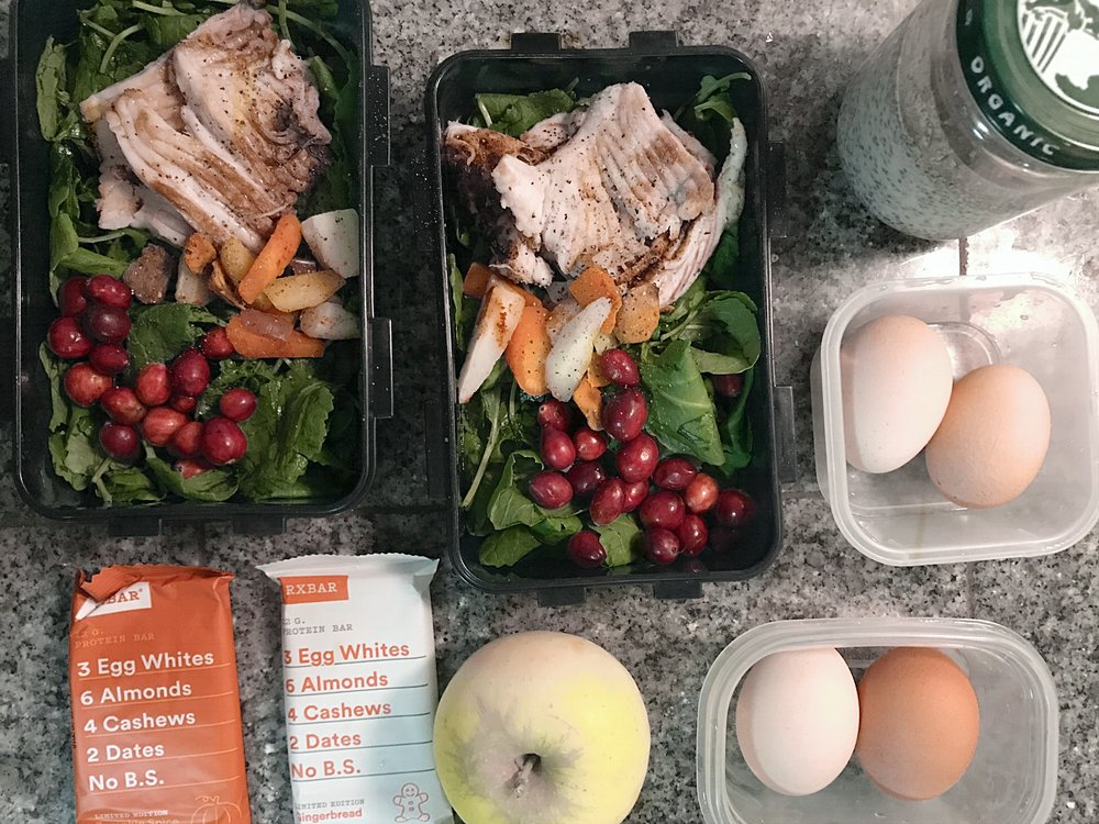 Hard boiled eggs (for breakfast), lunch (greens, skate wing, cranberries, roasted veggies), chia seed pudding (for snack/breakfast), apples & RXBars (for snacks)