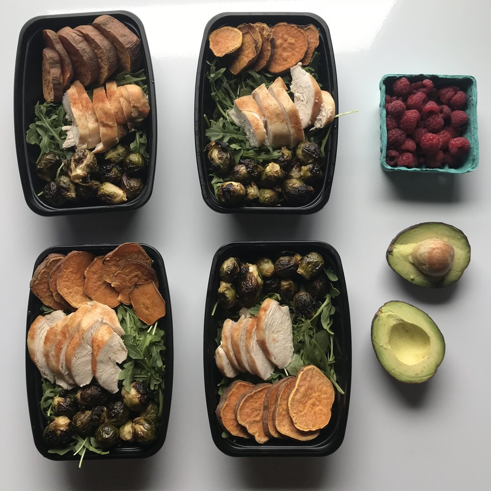 This tasted great though — roasted sweet potatoes, Brussels,  ButcherBox organic chicken breast  all atop a bed of arugula. Easy sheet pan meal prep!