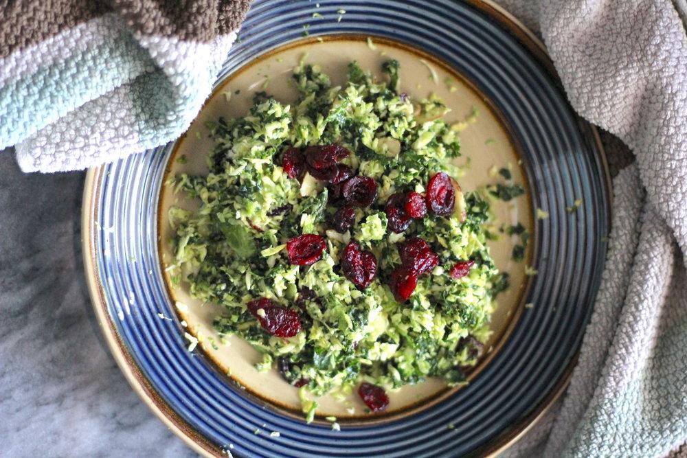 Kale & Brussels Salad with Honey Mustard Dressing