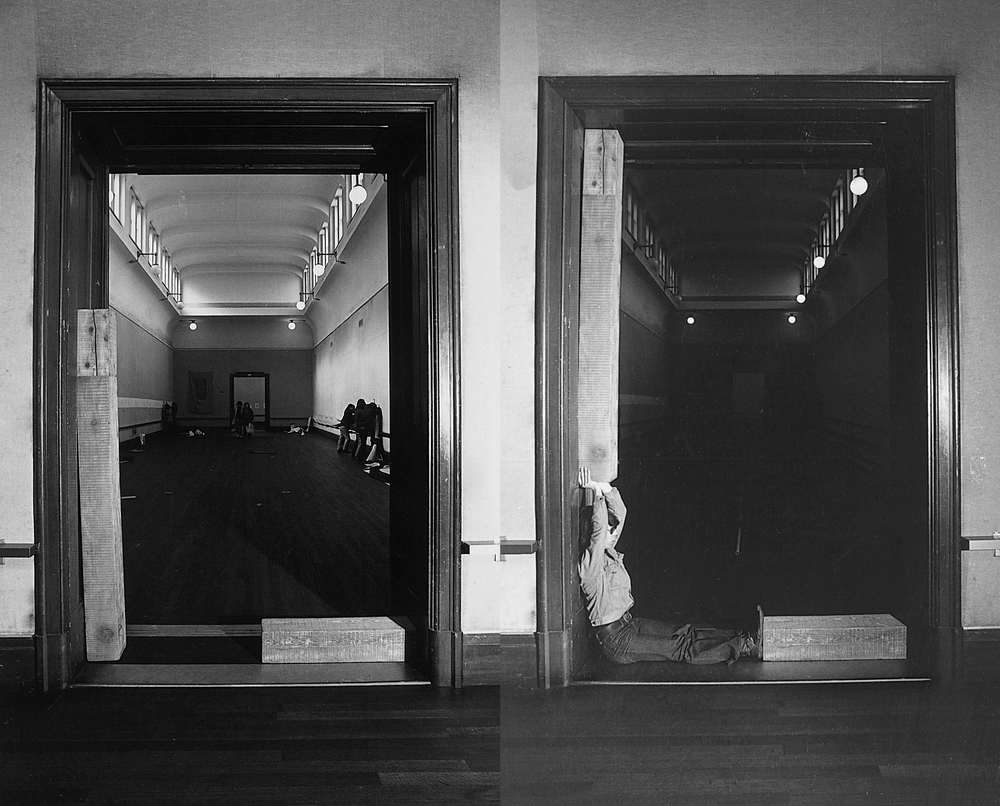 Uematsu Keiji (b. 1947),  Horizontal Position, Vertical Position,   Right Angle Position , 1973/2003. Gelatin silver print, 57 1/8 x 35 7/16 in. Artist's collection at Yumiko Chiba Associates, Tokyo. © Keiji Uematsu, courtesy of Yumiko Chiba Associates